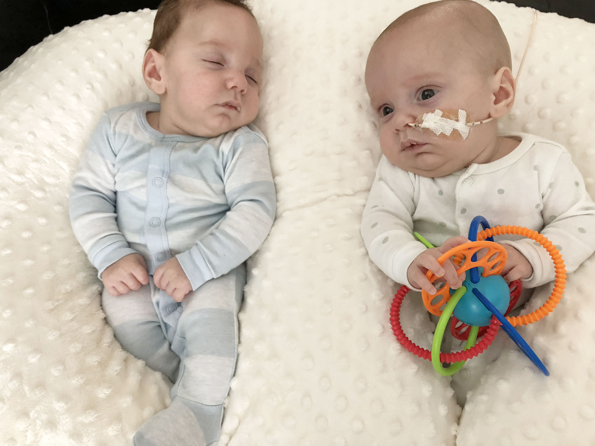 Twins with Feeding Tubes