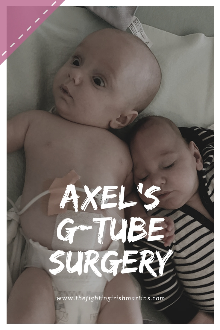Axel's G-tube surgery went well! Here's all the details on our short hospital stay and why we're happy we chose the G-tube. #tubefeeding #tubie #tubiebaby